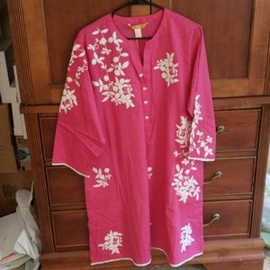 Nishat Linen Pink & White Flower Embroidered Shirt